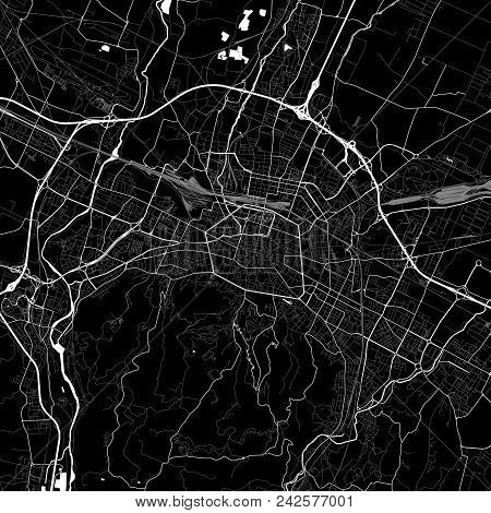 Area Map Of Bologna, Italy. Dark Background Version For Infographic And Marketing Projects. This Map