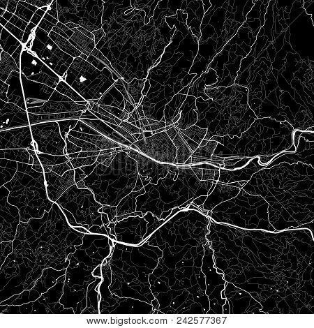 Area Map Of Florence, Italy. Dark Background Version For Infographic And Marketing Projects. This Ma