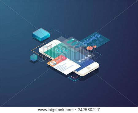 Mobile Development Concept. Isometric Mobile Phone With Futuristic Ui And Layers Of Applications. Ap