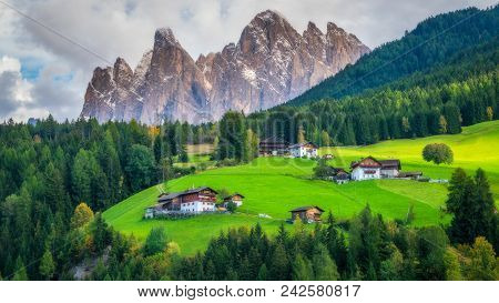 Mountain Village In Villnoss, Dolomites, Italy