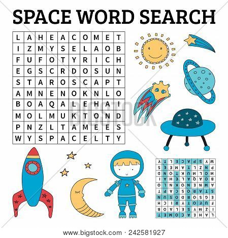 Learn English With A Space Word Search Game For Kids. Vector Illustration.