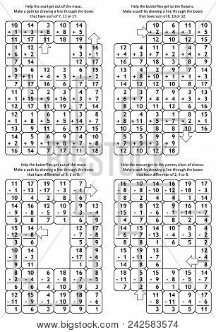 Solutions, Or Answers For Previous 4 Math Mazes. Can Be Used Also As Templates For New Puzzle Worksh
