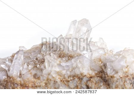 Quartz Stone Mineral Isolated On White Background.