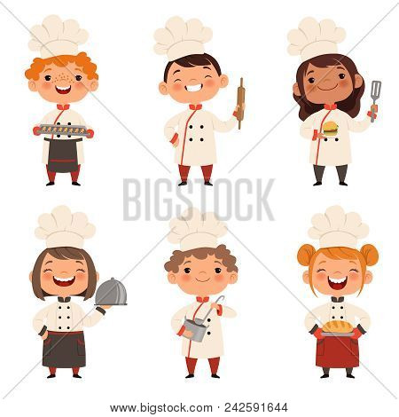 Characters Set Of Children Cooks. Cartoon Mascots In Various Dynamic Poses. People Boy And Girl Chef