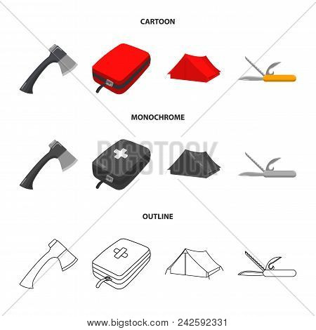 Ax, First-aid Kit, Tourist Tent, Folding Knife. Camping Set Collection Icons In Cartoon, Outline, Mo