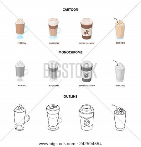 Mocha, Macchiato, Frappe, Take Coffee.different Types Of Coffee Set Collection Icons In Cartoon, Out