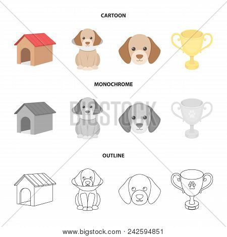 Dog House, Protective Collar, Dog Muzzle, Cup. Dog Set Collection Icons In Cartoon, Outline, Monochr