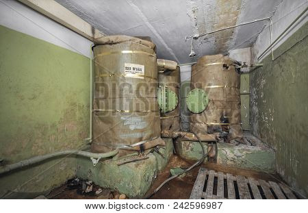 Large Tanks With A Supply Of Drinking Water For Autonomous Existence In The Underground Shelter. An