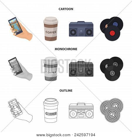 Hipster, Fashion, Style, Subculture .hipster Style Set Collection Icons In Cartoon, Outline, Monochr