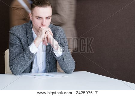 Thoughtful Serious Business Man. Pensive Office Worker. Thinking Process Contemplation Concept