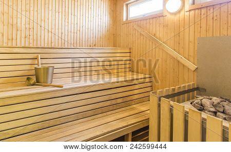Sauna - Interior of a relaxing finnish sauna poster