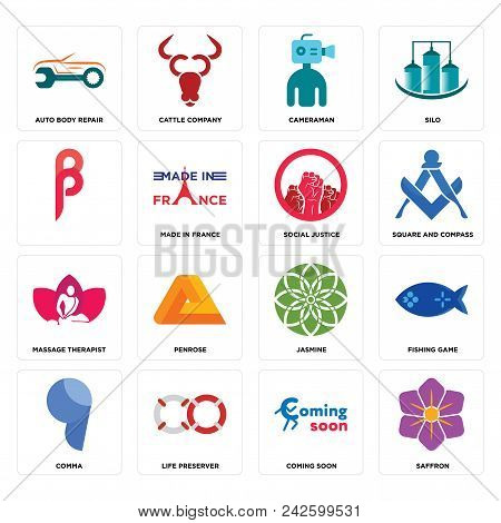 Set Of 16 Simple Editable Icons Such As Saffron, Coming Soon, Life Preserver, Comma, Fishing Game, A