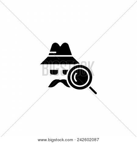 Detective Black Icon Concept. Detective Flat  Vector Website Sign, Symbol, Illustration.