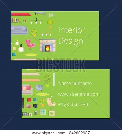 Interior Design, Calling Card With Name And Surname, Phone Number And Website Link, Sample With Hous