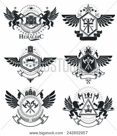 Heraldic Coat of Arms, vintage vector emblems. Classy high quality symbolic illustrations collection, vector set. poster