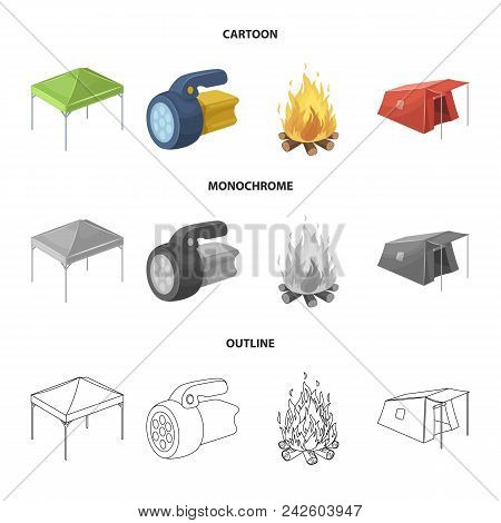 Awning, Fire And Other Tourist Equipment.tent Set Collection Icons In Cartoon, Outline, Monochrome S