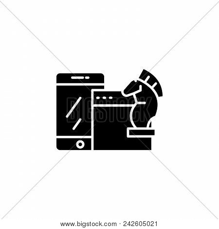 E-commerce Strategy Black Icon Concept. E-commerce Strategy Flat  Vector Website Sign, Symbol, Illus
