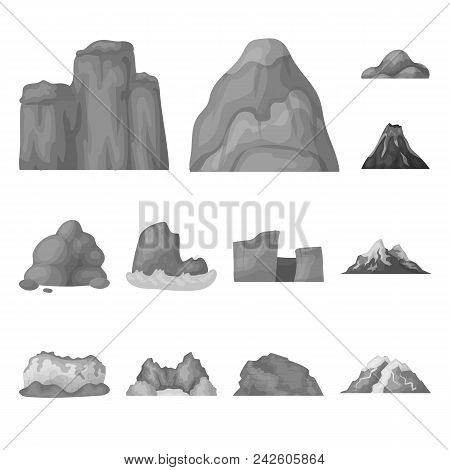 Different Mountains Monochrome Icons In Set Collection For Design.mountains And Landscape Vector Sym