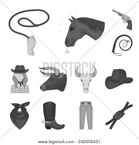 Rodeo, Competition Monochrome Icons In Set Collection For Design. Cowboy And Equipment Vector Symbol