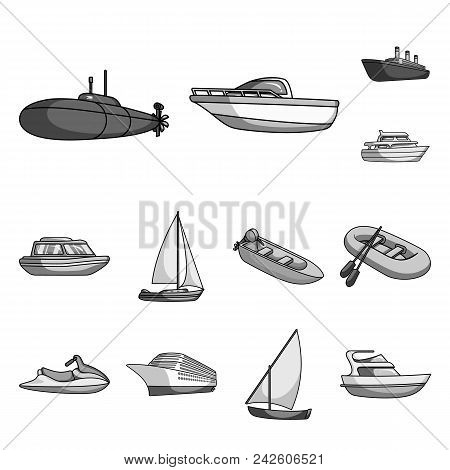 Water And Sea Transport Monochrome Icons In Set Collection For Design. A Variety Of Boats And Ships
