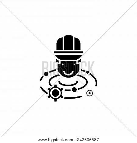 Engineer Brainstorm Black Icon Concept. Engineer Brainstorm Flat  Vector Website Sign, Symbol, Illus