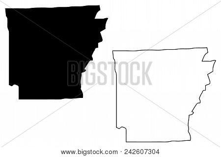 Arkansas Map Vector Illustration, Scribble Sketch Arkansas Map
