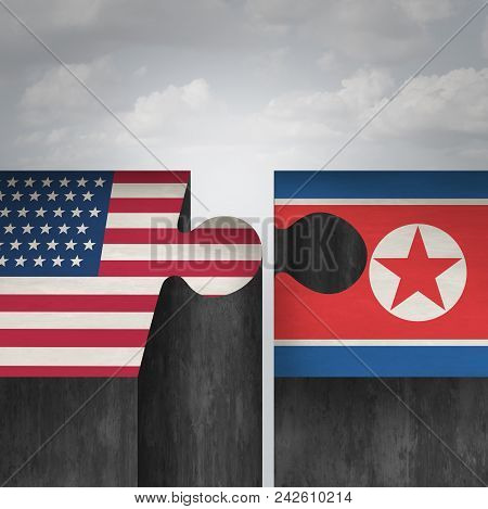 North Korea United States Summit Concept And American And North Korean Agreement And Diplomacy Succe