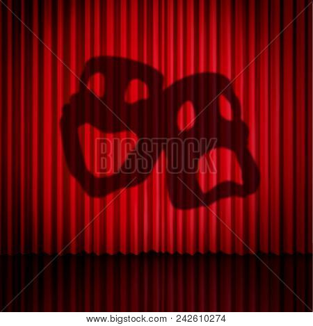 Theatre Mask Curtains As A Drama Performance Stage Concept With Comedy And Tragedy Masks As A 3d Ill