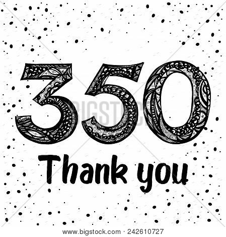 Thank You Design Template For Social Network And Follower. 350 Followers