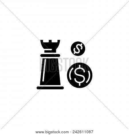 Financial Strategy Black Icon Concept. Financial Strategy Flat  Vector Website Sign, Symbol, Illustr
