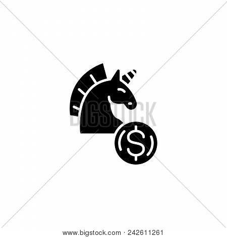 Financial Threats Black Icon Concept. Financial Threats Flat  Vector Website Sign, Symbol, Illustrat