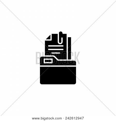 Folder With Documents Black Icon Concept. Folder With Documents Flat  Vector Website Sign, Symbol, I
