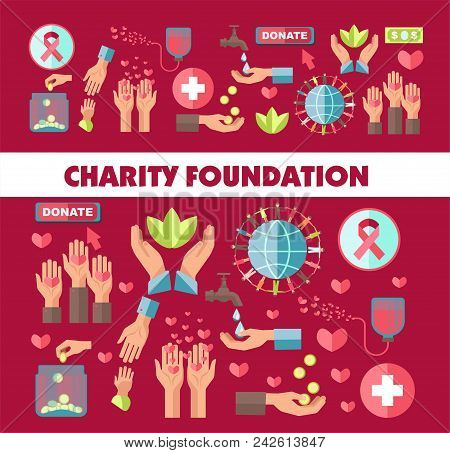 Charity Foundation Poster For Social Donation Action. Vector Icons For Blood Donation Or Money And H