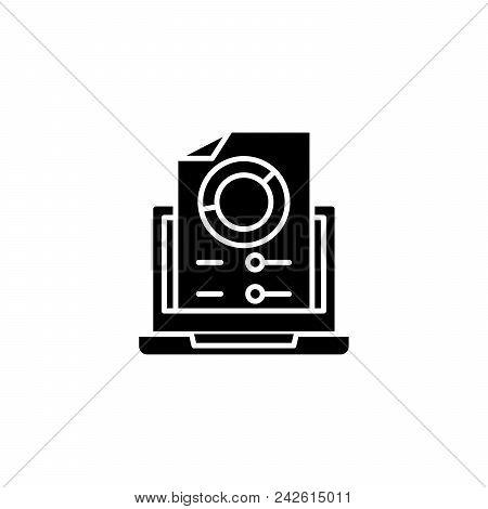 Generated Report Black Icon Concept. Generated Report Flat  Vector Website Sign, Symbol, Illustratio