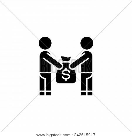 Giving Money Bag Black Icon Concept. Giving Money Bag Flat  Vector Website Sign, Symbol, Illustratio