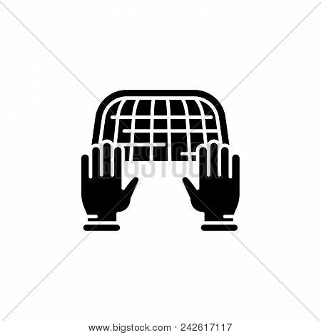 Goal Keeper Black Icon Concept. Goal Keeper Flat  Vector Website Sign, Symbol, Illustration.