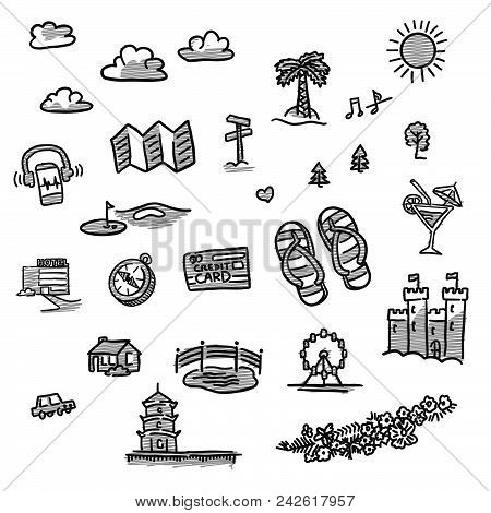 Set Of Travel Icons Drawings. Hand Drawn Vector Illustration.