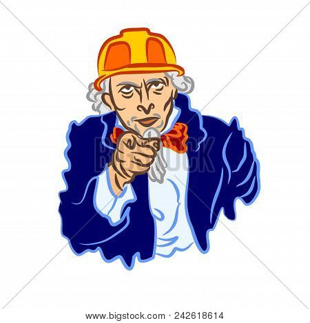 Uncle Sam's Vector Cartoon In A Construction Safety Helmet. A Simple Flat Color Caricature Of The Bu