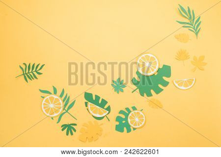 Header With Lemon Slices And Tropical Leaves Pattern On A Bright Yellow Background. Papercraft Flat