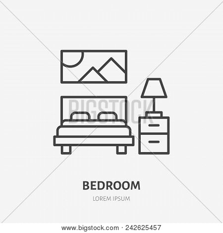Bedroom Flat Line Icon. Apartment Furniture Sign, Vector Illustration Of Bed, Bedside Table, Lamp, D