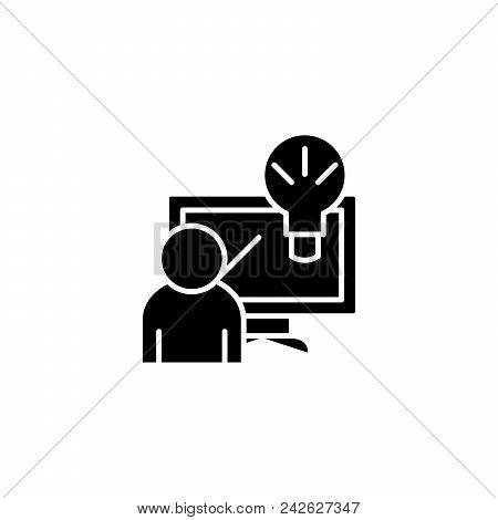 Innovative Solution Black Icon Concept. Innovative Solution Flat  Vector Website Sign, Symbol, Illus