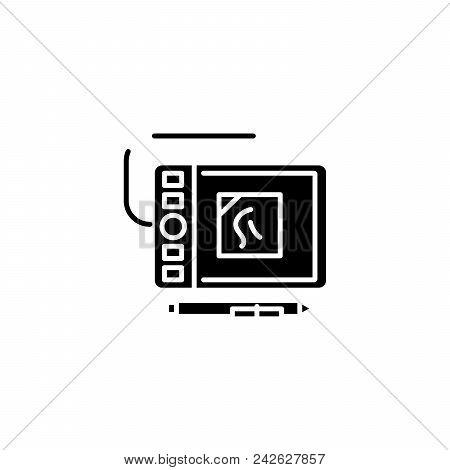 Interactive Tools Black Icon Concept. Interactive Tools Flat  Vector Website Sign, Symbol, Illustrat