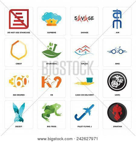 Set Of 16 Simple Editable Icons Such As Spartan, Pilot Flying J, Big Frog, Deceit, Usmc, Do Not Use