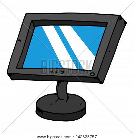 Flat Computer Monitor. Lcd Monitor. Vector Of A Flat Monitor. Hand Drawn Flat Computer Monitor.