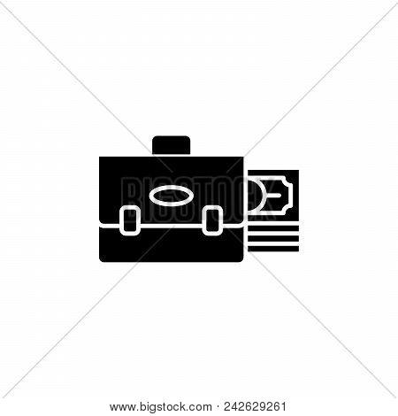 Investment Portfolio Black Icon Concept. Investment Portfolio Flat  Vector Website Sign, Symbol, Ill