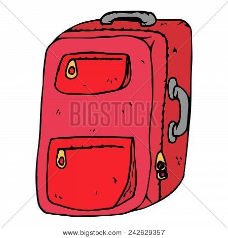 Hand Drawn Suitcase For Luggage. Suitcase For Travel. Vector Illustration.