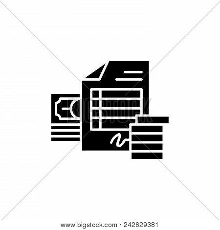 Invoice Black Icon Concept. Invoice Flat  Vector Website Sign, Symbol, Illustration.