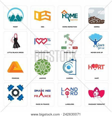 Set Of 16 Simple Editable Icons Such As Massage Therapist, Landlord, Made In France, , Hart, Mont, L