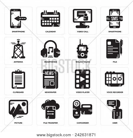 Set Of 16 Simple Editable Icons Such As User, Camcorder, File Transfer, Picture, Voice Recorder, Sma