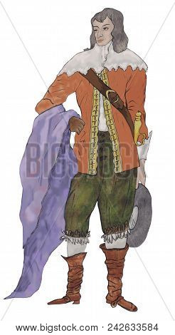 Watercolor Portrait Of A Young Aristocrat In A Scenic Retro Suit
